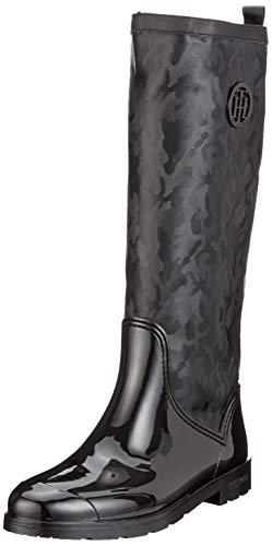 Tommy Hilfiger Damen Shiny CAMO Long RAIN Boot Hohe Stiefel, Schwarz (Black 990), 42 EU