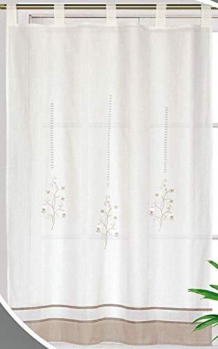 Forentex Cortinas Cocina L-1048 Bordados florales decorativos para ventanas, Polyester, Blanco L-150x180 cm