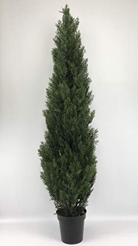 Silk Tree Warehouse Company Inc One 6 Foot Outdoor Artificial Cedar Topiary Tree Potted UV Rated Plant (6 Foot)