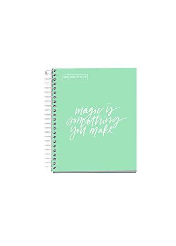 MIQUELRIUS - Cuaderno Notebook Messages - 1 franja de color, A6, 100 Hojas cuadriculadas de 5mm, Papel 90 g, Sin Taladros, Cubierta de Cartón Extra Duro, Color Menta