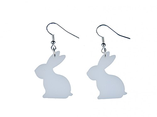 Miniblings Hase Kaninchen Ohrringe Hänger Osterhase Kaninchen Acrylglas weiß - Handmade Modeschmuck I Ohrhänger Ohrschmuck versilbert