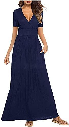 DFLYHLH Vestidos de otoño de talla grande, vestido largo casual de verano de manga corta con cuello en V suelto con bolsillos, azul, M