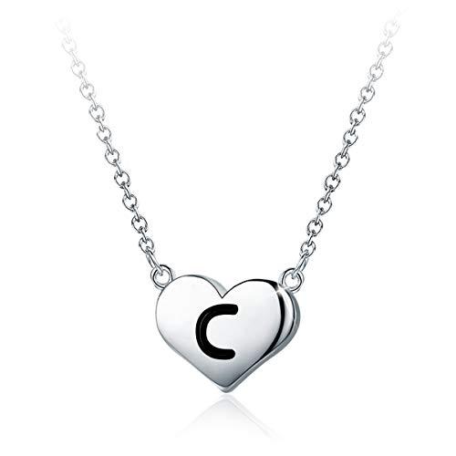 SIMPLGIRL kleine hartvormige letters halsketting - 925 sterling zilver gepersonaliseerde sierlijke brief hart choker halsketting voor vrouwen, 40 + 5 cm