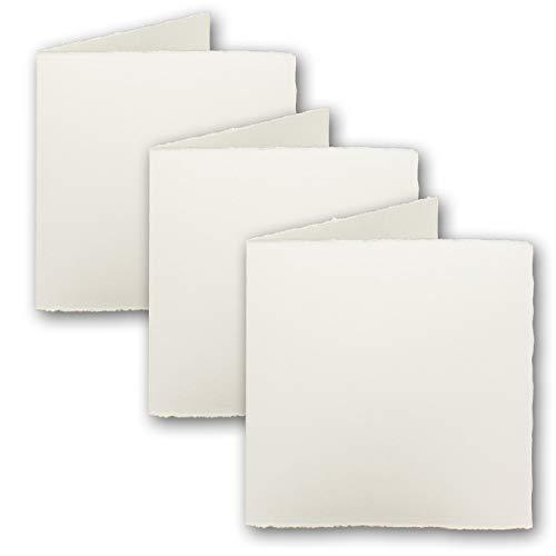 25x Quadratische Vintage Falt-Karten Mia, echtes Bütten-Papier, 11,8 x 11,8 cm - Doppel-Karten, Natur-Weiß 225 g/m² - Vellum Oberfläche - Original Zerkall-Bütten