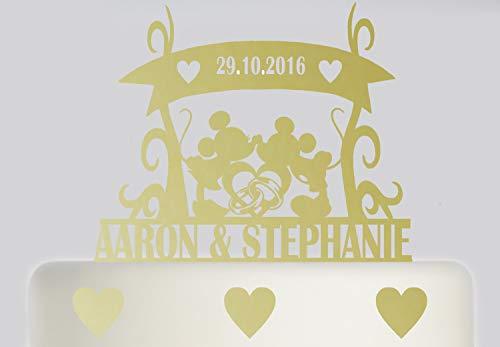 Decoración grande para tarta de boda, diseño de Mickey Mouse y Minnie Mouse, acrílico, para tarta de boda de Mr y Mrs, para novia y novio