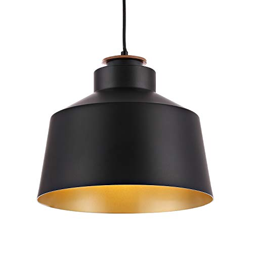 WINGBO Black Industrial 1 Bulb Pendant Light Farmhouse Metal Hanging Barn Pendant Lighting with Lid Shade, Adjustable Length Hanging Dining Light Fixture for Kitchen, Bar, Entryway, Dining Room