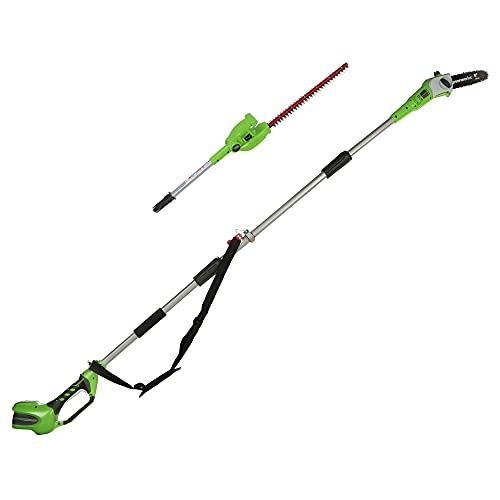 Greenworks Tools 2en1 Podador de altura y cortador de setos telescópico con batería...