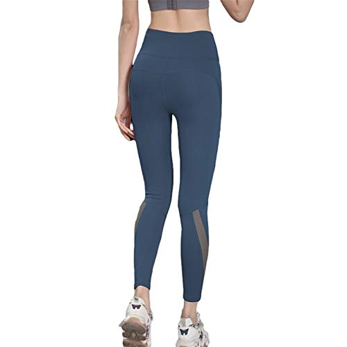 Sportlegging Dames Hoge Taille Figuurvormende Fitnessbroek Anti-cellulitis Compressie Push-up Training Yogabroek Elastische Panty (Color : Blue, Size : M)