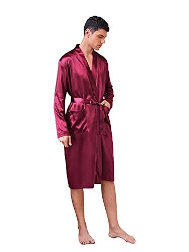 Romwe Albornoz de satén para hombre, de seda, ligero, largo, con bolsillo, Burgundy, Medium