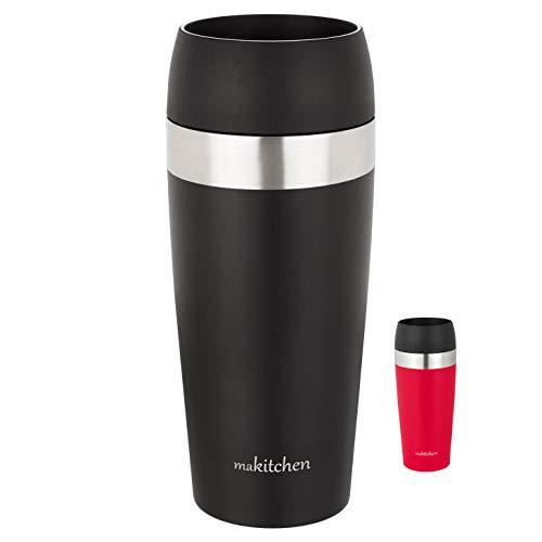 makitchen Thermobecher spülmaschinenfest 420ml, Schwarz | Kaffeebecher für Coffee to go 100% auslaufsicher | Edelstahl Trinkbecher mit Deckel | Isolierbecher doppelwandig Vakuum-isoliert