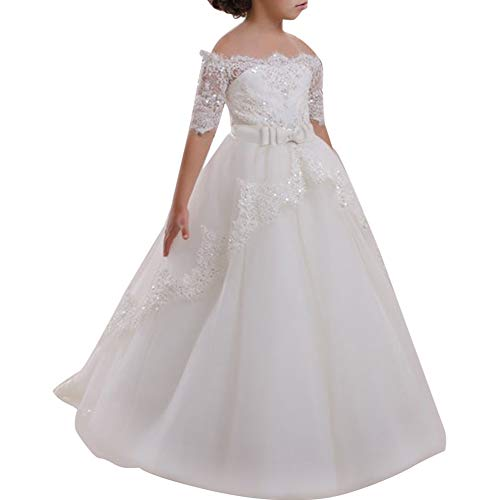Girls Off the Shoulder A Line Pageant Dresses Flower Lace Maxi Gown for Kids Formal Wedding Bridesmaid Sequin Party Princess Long Dress First Communion Birthday Dance Puffy Tulle Ball Gown White 10-11