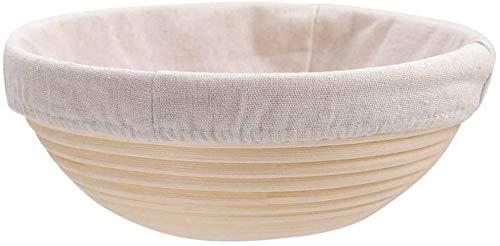 Banneton - de cestas de pan redondas de 18 cm, hechas a mano para hornear masa con cubierta de lino de tela (1 PCS)