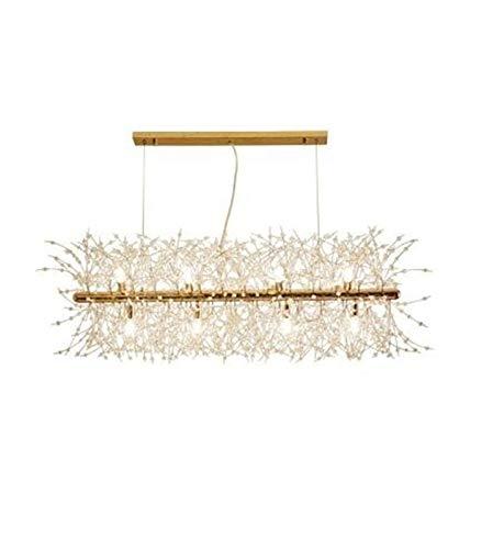 Lámpara colgante Colgante LED de la lámpara Cocina Comedor Colgando poste ligero cristalino moderno de la lámpara de la tienda Loft accesorio de iluminación ( Body Color : Oro , Size : Cold White )