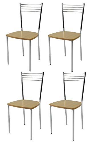 t m c s Tommychairs - Set 4 sedie modello Elena per cucina bar e sala da pranzo, struttura in...