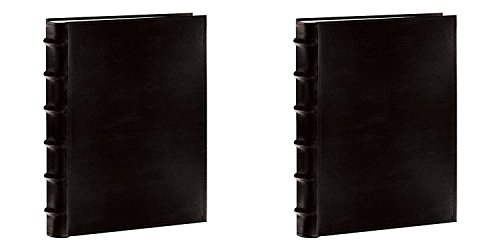 Pioneer Sewn Bonded Leather BookBound Bi-Directional Photo Album, Holds 300 4x6' Photos, 3 Per Page. Color: Black. Two Pack