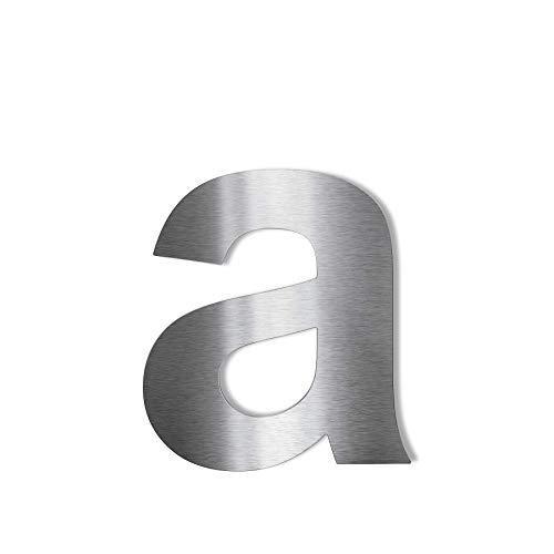 Metzler Edelstahl Hausnummer – V2A rostfrei grob geschliffen – selbstklebend - Schrift Arial - Höhe 57 mm - Buchstabe a