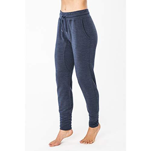 super.natural Pantalon de Jogging Confortable pour Femmes, Laine mérinos, W ESSENTIAL CUFFED PANT, Taille: XS, Couleur: Bleu foncé chiné