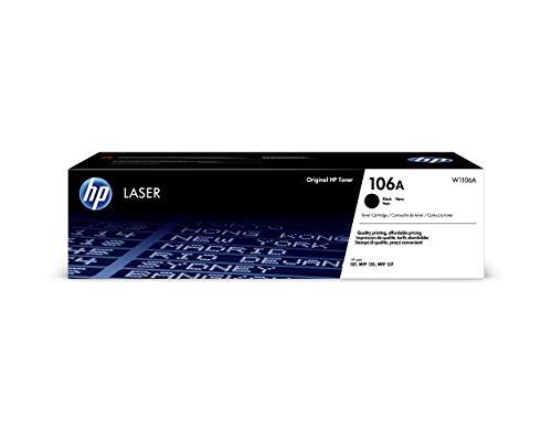 HP 106A W1106A, Negro, Cartucho Tóner Original, de 1.000 páginas, para impresoras HP Laser 107a, 107w, 107r, MFP 135ag, MFP 135wg, MFP 137fwg
