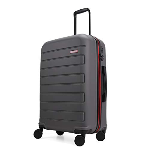 GinzaTravel Hardside Spinner, Carry-On, Wear-resistant, scratch-resistant Suitcase Luggage with Wheels (24-inch, Grey color)