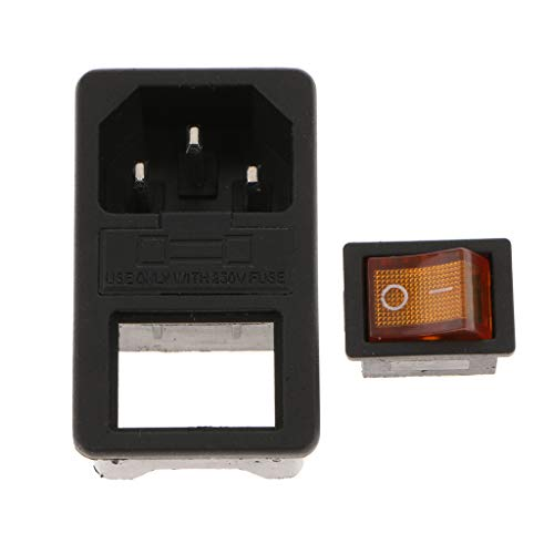 Almencla IEC320 250V 10~15A Módulo de Entrada Enchufe Interruptor de Fusible Toma de Corriente Macho - Amarillo