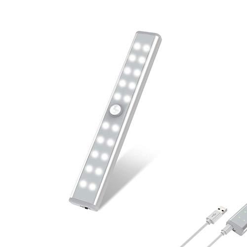 20 LED Closet Light, OxyLED Motion Sensor Closet Lights, Wireless Under Cabinet Lights, USB Rechargeable Stick-on Stairs Step Light Bar, LED Night Light, Safe Light for Wardrobe, Kitchen