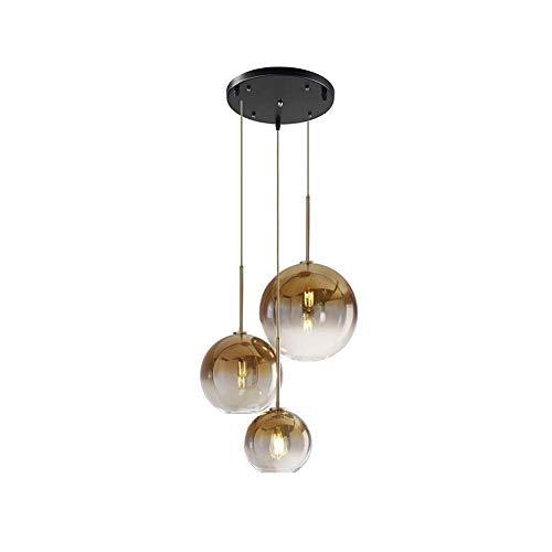 Pendelleuchte Modern Design Runde Hängeleuchte Esstisch Farbverlauf Glas-Kugel Lampenschirm in Champagner Gold, E27 Wohnzimmer Kronleuchter, Ø35CM 3-flammig [Energieklasse A]