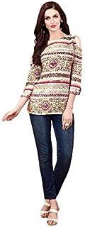 Khwahish - Cream Rayon Cotton Cold Shoulder Printed Top/Tunic/Short Kurti Rayon Cotton Cold Shoulder Top/Tunic/Short Kurti - Bracelet Sleeves (3/4th sleeves)