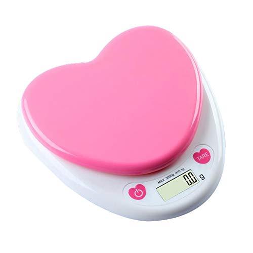 YINAIER Básculas para Alimentos, 3 kg / 0,1G, báscula de Cocina Digital portátil en Forma de corazón, Monitor LCD, Cero automático para medir el Peso, Agua, Alimentos