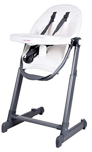 Verstellbarer Klappbarer Hochstuhl für Kleinkinder und Kinder mit Bequemen Ledersitz. Babystuhl in 5 Positionen Verstellbar mit Abnehmbarem Tablett für eine Einfache Reinigung (WEISS)