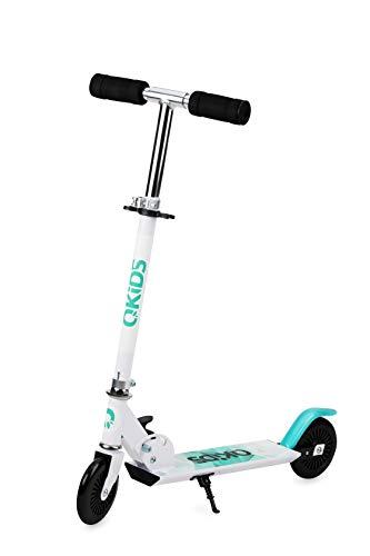 QKids Zweirad-Tretroller, für Jungen, Mädchen, zusammenklappbar, Blau, bis 50 kg, Alter: 3+, Scooter