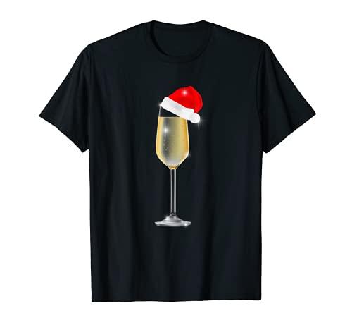 Copa de champán de Navidad con sombrero de Papá Noel para beber Camiseta