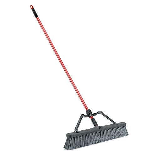 """Libman Commercial 825 Rough Surface Heavy Duty Push Broom, 64"""" Length, 24"""" Width, Black/Red/Grey (Pack of 3)"""
