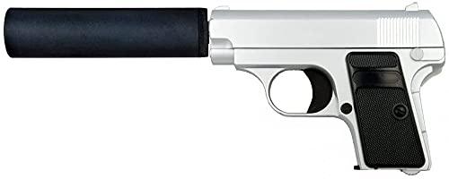 Tiendas LGP, Albainox 35720 Arma Airsoft, Pistola Aire Suave, con silenciador, Potencia 0,8 Julios, Munición Bolas PVC 6 mm