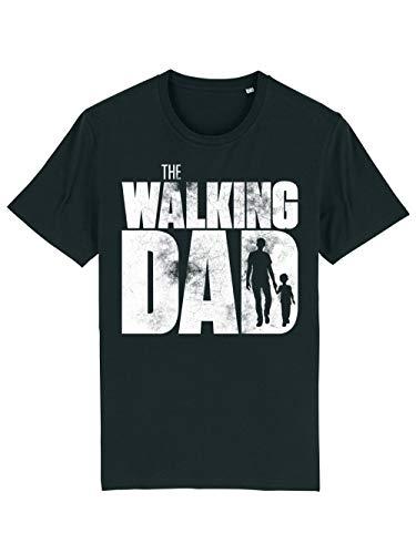 clothinx Herren T-Shirt Bio und Fair The Walking Dad Kid Schwarz/Weiß Größe L