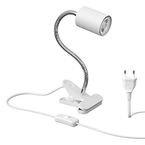 ledscom.de Klemmleuchte WAIKA mit Schwanenhals und Schalter weiß matt, inkl. GU10 LED Lampe (warmweiß, 2700K, 5,5W =71W, 550lm, 50°)