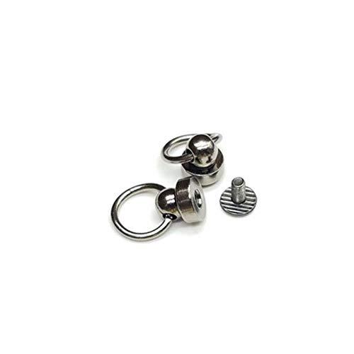 10Pcs 8-9mm Drehnippelniete mit Zugring Kleidungsstück Nietbolzen mit Schrauben für Tasche Hut Schuh Leder Chocker Handyhülle DIY, Pistole schwarz, 9mm