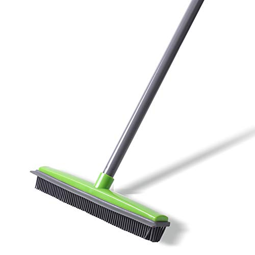 NZQXJXZ Push Broom - Soft Bristle 59'' Rubber Broom Carpet Sweeper with Squeegee Adjustable Long Handle, Removal Pet Human Hair