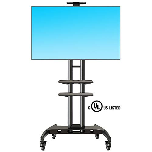 NB North Bayou Mobile TV Cart TV Stand with Wheels for 32 to 65 Inch LCD LED OLED Plasma Flat Panel Screens up to 100lbs AVA1500-60-2P (Black 2 Shelves)