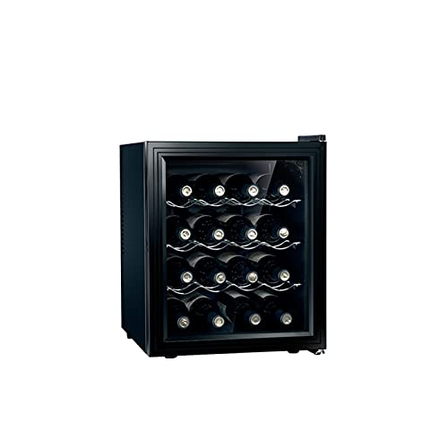 MIAOYO Capacidad De 16 Botellas Vinoteca,Operación Silenciosa Vinoteca,Termoeléctrico Refrigerador De Vino,Vinoteca para Cocina Condominio Cabaña,Negro,43x48x51cm