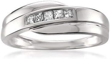 1 4 Carat Diamond Channel Set 14kt White Gold Princess cut Diamond Men s Wedding Band Ring H product image