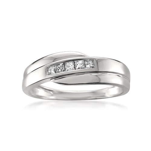 1/4 Carat Diamond, Channel-Set 14kt White Gold Princess-cut Diamond Men's Wedding Band Ring (H-I, I1-I2) by La4ve Diamonds
