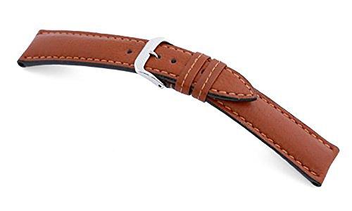 RIOS1931 Uhrenarmband Echt Büffel Cognac Bandanstoss 22 mm