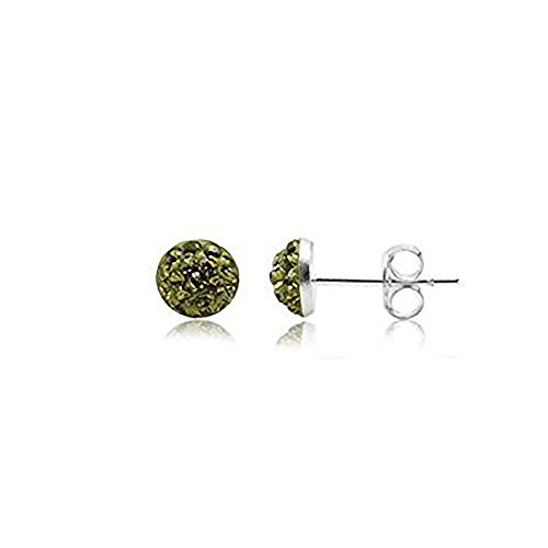 6MM Half Disco Ball Sterling Silver Stud Earrings - GREEN OLIVINE or Choose From 26 Colours. 6-GO