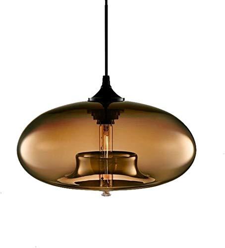 ZIZISHUANG Retro Industrial de Techo Pendiente de la lámpara E27 de Cristal Colorido Jaulas, 28 * 28 * 14cm ZI914 (Color : Brown)
