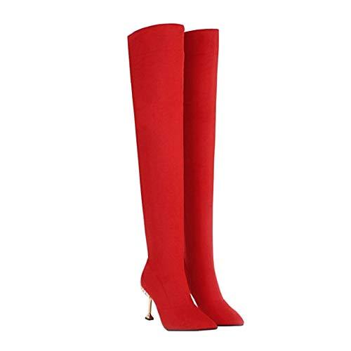 YQSHOES Botas De Mujer Sexy De Moda, Tacones De Metal, Botas Por Encima De La Rodilla, Zapatos De Algodón De Invierno,Rojo,40