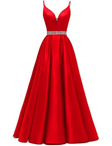 Abendkleider Lang A-Linie Ballkleid Brautkleid Prinzessin Cocktailkleid Satin V-Ausschnitt Partykleid Festkleider Rot 50