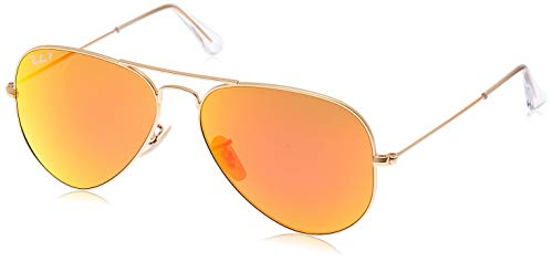 RB3025 Aviator Classic Polarized Sunglasses, Matte Gold/Brown/Orange Mirror Polarized, 58 mm