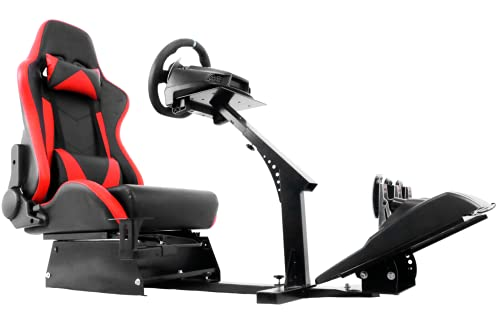 Minneer Racing Gaming Seat Steering Simulator Cockpit Red Chair Racing Wheel Stand Fits Logitech G25 G27 G29 and G920  All Thrustmaster All Fanatec Wheels Fits Xbox, Playstation, PC