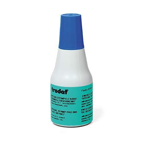 Trodat Stempelfarbe blau für Handstempelkissen, 25 ml Inhalt in Flasche, Dokumentenecht, zum Nachfüllen, Schnelltrocknend