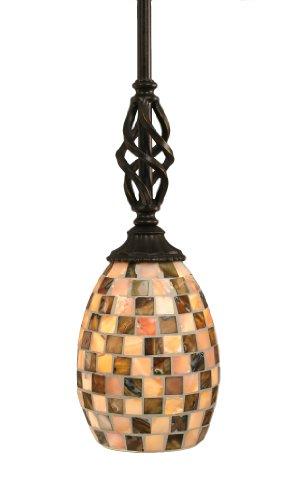 Toltec Lighting 80-DG-408 Elegante Mini-Pendant Dark Granite Finish with Seashell Glass Shade, 5-Inch